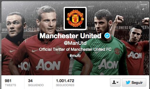 El Manchester United de celebración en Twitter