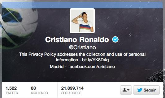 La mitad de los seguidores de Cristiano Ronaldo en Twitter son falsos