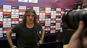 Carle Puyol en rueda de prensa.