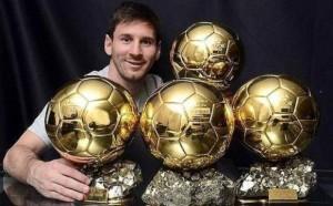 Messi con sus cuatro balones de oro / Agencias