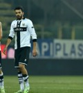 PARMA, ITALY - FEBRUARY 11:  Alessandro Lucarelli (L), Raffaele Palladino (C) and Zouhair Feddal of Parma FC look dejected at the end of the Serie A match between Parma FC and AC Chievo Verona at Stadio Ennio Tardini on February 11, 2015 in Parma, Italy.  (Photo by Valerio Pennicino/Getty Images)